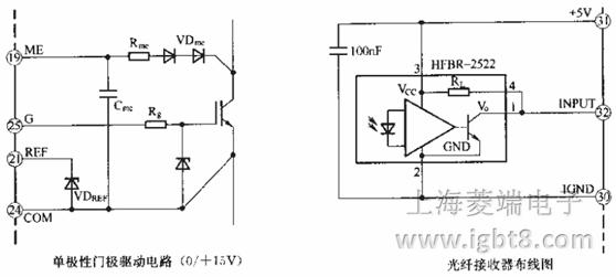 """10)引脚31为+5V电源输入端。将一个对IGND端为+5V的电压接入31脚,此电源主要供给接口电子器件。如果FOL接收器需要的电流大于30mA,就必须再外接+5V电源。 11)引脚32为输入端。FOL接收器的输出信号接入32脚,如上图所示。 12)引脚33(INV)。INV端允许将输入信号反向,这个输入通常连接至IGND端。在驱动状态下,输入端INV允许FOL接收器与""""高""""或""""低""""的输出信号相连接。此功能特别适用于制动斩波器电路。 13)引脚34(SDO"""