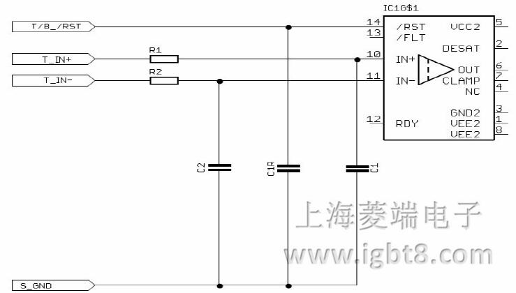 在图6的中为正逻辑驱动器电路的的一部分。IN +被用作信号输入,而IN-是用作使能信号。因此,+5 V信号的IN + IN-输入引脚的输入引脚和GND信号的IGBT将是必要的。要操作输入引脚上的负逻辑的电容器C1和C2与整个电路以进行交换。否则,这将导致额外的延迟。IN+将作为一个使能信号。 3.