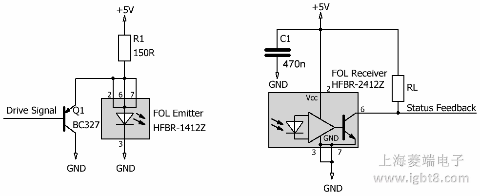 """""""st""""光纤接口的推荐电路(1sp0635s)"""
