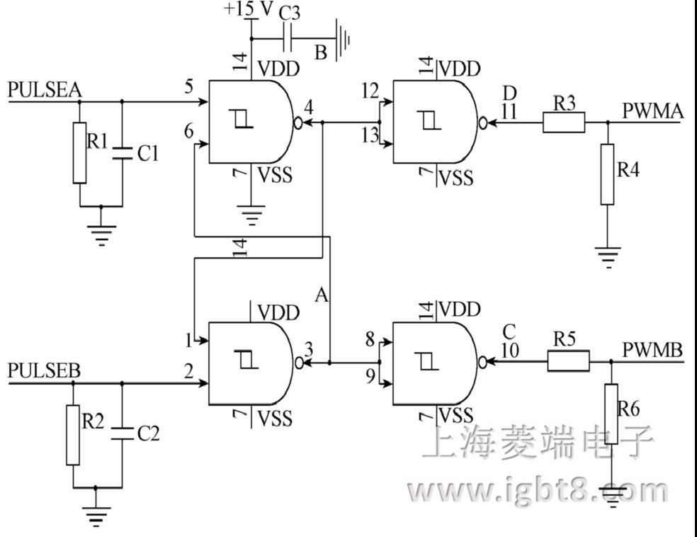 图3中,C1、C2为脉冲滤波电容,用于增强驱动信号的抗干扰能力。R1、R2为接地电阻,当与集中控制板连接的驱动信号线接触不良甚至断开时,可保证该路驱动信号为低电平输出,同时该电阻阻值可调节,以匹配与非门翻转电平;当脉冲信号向低电平翻转时,集中控制板上的三极管开通,C1、C2 通过该三极管迅速放电,保证PWM脉冲信号无关断延时。另外利用2个与非门的输出反馈信号可实现PWM驱动信号的互锁功能,硬件上保证避免IGBT桥臂短路情况的发生。R3、R4 和R5、R6电阻分压网络构成了噪声抑制电路,能有效地抑制噪声信号