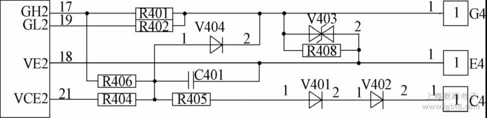 图8 为所述驱动芯片二次侧功率驱动电路的原理图。图中电阻R401、R402 分别为IGBT门极驱动电阻;V403为门极箝位二极管;R408为门极保护电阻。当门极电压高于TVS管V403的击穿电压时,TVS管导通,可以通过该管把IGBT门极电压箝位,防止IGBT门极被高电压击穿。本文中IGBT 的短路保护是采用二极管检测IGBT退饱和,R406和C401用于设定短路保护盲区时间,配置R406或C401可调节驱动芯片的短路保护盲区时间。C401通过R406充电,二极管V404为电容C401提供放电回路,当C4